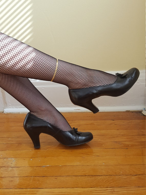 Sweetheart Shoes 1940s black leather heels / 1940s