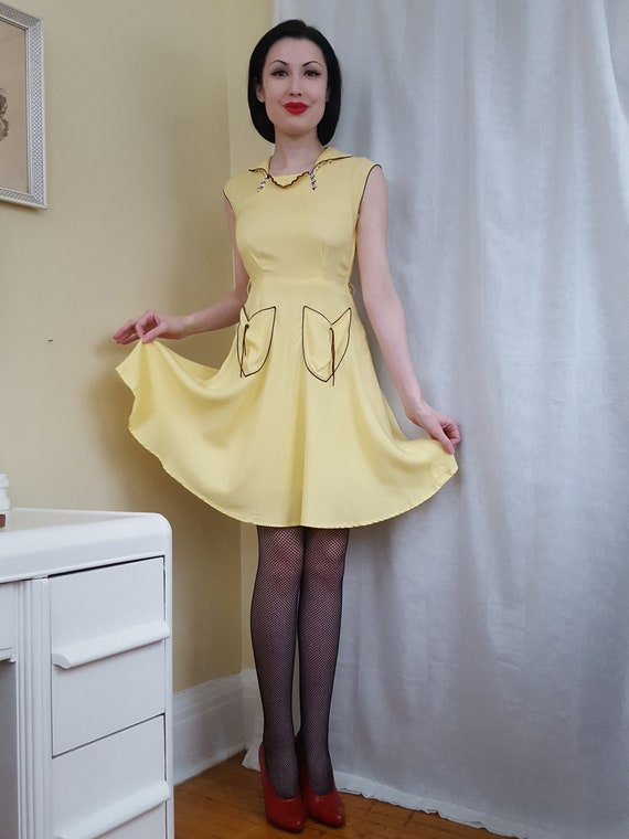 Late 1930s Art Deco yellow dress