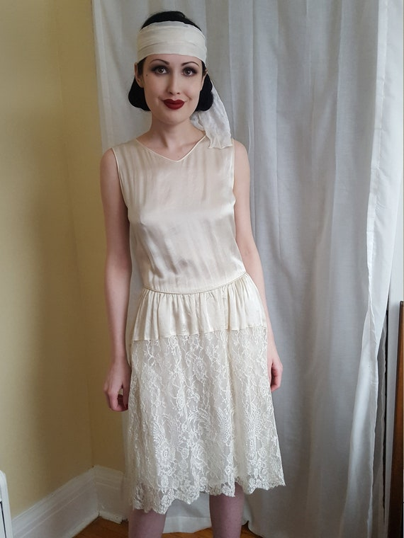 1910s 1920s satin and lace dress