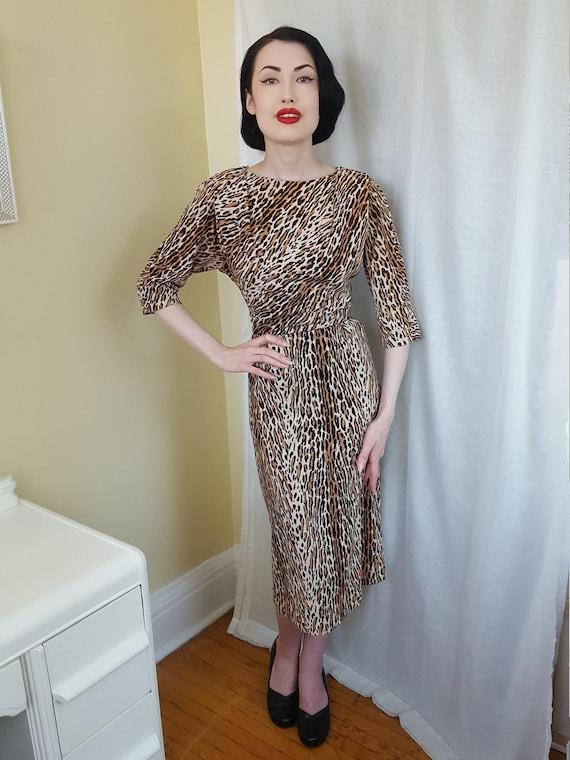 1950s bad girl leopard print dress