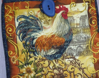 bag fabric hand made patchwork Rooster pattern