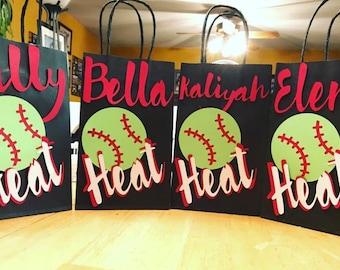 Softball customized treat bags, softball,
