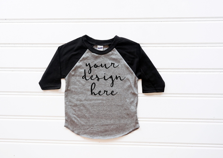 1e21692f Kavio TJP0660 Toddler Black Raglan Tshirt Mockup Kids Shirt | Etsy
