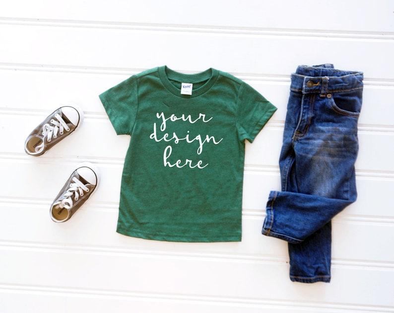 49003687 Kavio TJP0494 Toddler Dark Green Tshirt Mockup Kids Shirt | Etsy