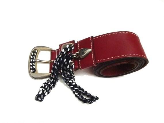 Vintage Bally Women Red Leather Belt Buckle Waist