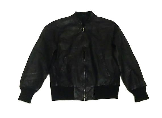 Vintage Black Bomber Genuine Leather Jackets Size