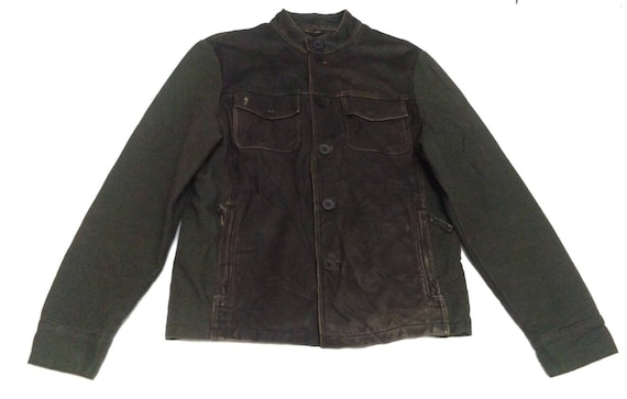 Armani Jeans Half Leather Green Army Color Button