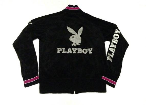 Vintage 90s Playboy Big Bunny Logo Black Velvet Zi