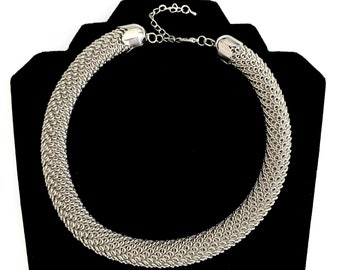 Vintage Silver Tone chunky Mesh Collar Choker Necklace