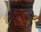 Glass Tiki Jar Canister for Cigars or Candy or Spices