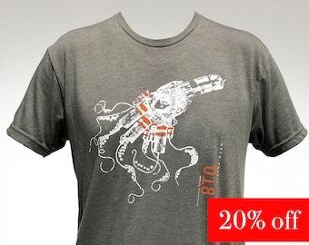 Mech-Fossil Octopus T-shirt, illustrated silkscreen graphic T-shirt, hand illustrated, Fossil T-shirt