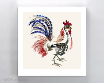 Gallus Mechanicus Rooster signed fine art print 10x10 in