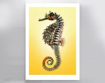 Yellow Seahorse Sculpture Signed Fine Art Print