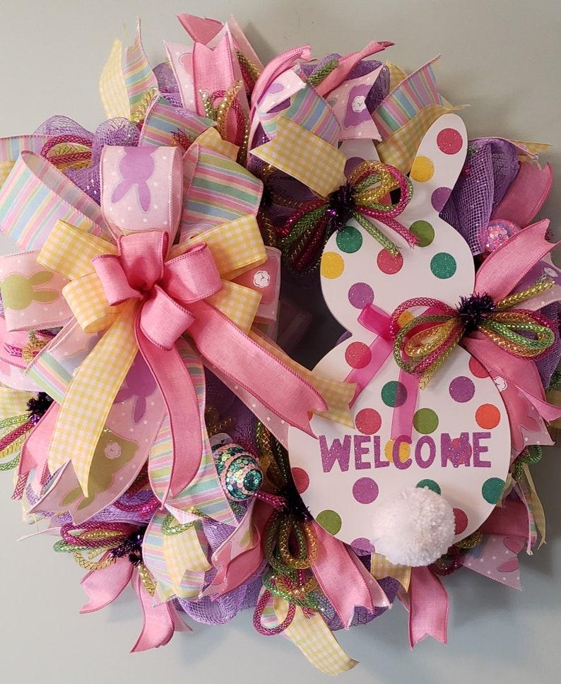 front door wreath Easter rabbit wreath bunny deco mesh Easter deco mesh wreath Spring decor easter door hanger Easter bunny wreath