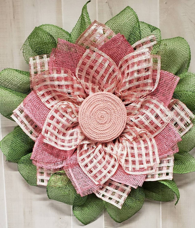 modern door hanger pink sunflower burlap wreath farmhouse door hanger minimalist wreath sunflower checked pink flower