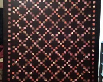 Irish Chain Quilt/Adult Queen Quilt/Homemade Quilt