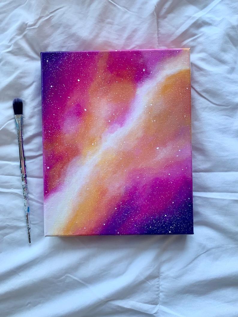 8x10\u201d Original pink galaxy acrylic canvas painting