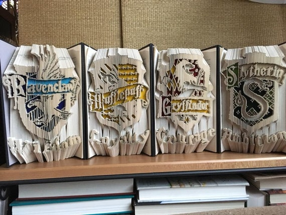 Harry Potter Hogwarts Houses Book Folding Completed 4 Book Set Gryffindor Hufflepuff Ravenclaw And Slytherin