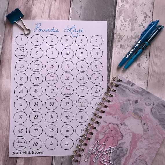 downloadable a4 pdf weight loss tracker chart in blue etsy