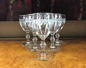 Rock Sharpe Libbey Glass Company Cut Laural 8000-10 Pattern Claret Wine Glasses Set of 6