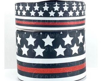 c0a27de7b8a6 Firefighter Support Glitter Ribbon, Thin Red Line, Fire Fighter Flag Ribbon,  USDR Ribbon, Pet Collar Supplies, Lanyard Supplies, Hair Bows