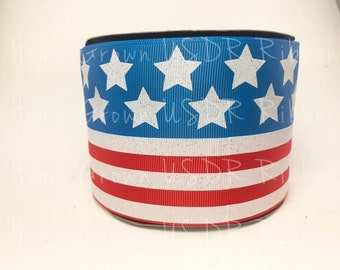 "American Flag 4th of July Ribbon, 7/8"" 3"" Grosgrain, USDR Patriotic Ribbon, Cheer Bow, High Quality Designer Ribbon, Glitter Fourth of July"