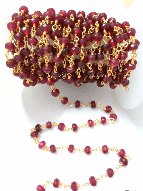 """5 Strand Natural Ruby Chalcedony Rondelle Faceted 3-3.5mm Gemstone 13/""""inch"""