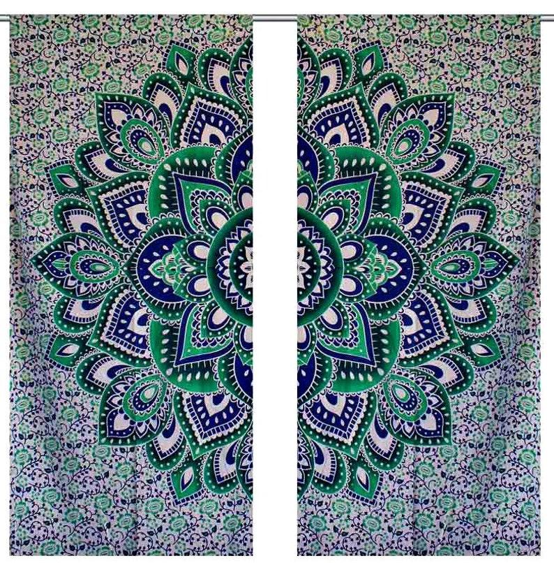 Indian Tapestry Curtain Set Floral Mandala Curtain Window 2 Panel Curtain Set Bohemian Door Drapes