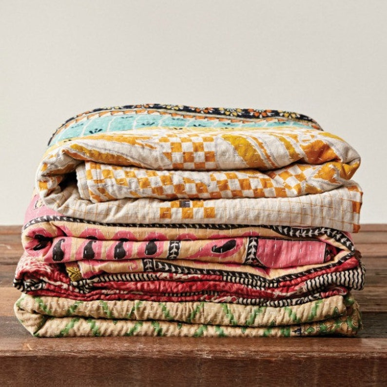 Vintage kantha quilt new gift Indian quilt cotton quilt Kantha blanket twin quilt Kantha throw sofa cover