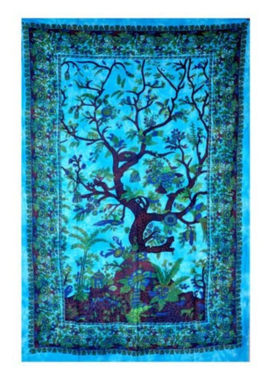 Tenture Africaine Grande Taille arbre de vie bleu tapisserie tenture murale indien main tapisserie murale  ethnique decor art taapestries