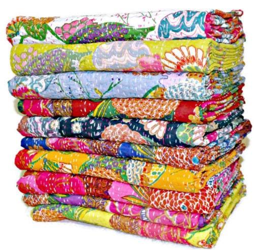 10 Pc Lot En gros Queen Kantha Quilt Jeter Indian Kantha Couvertures Vente En gros Ensemble cadeau de Noel