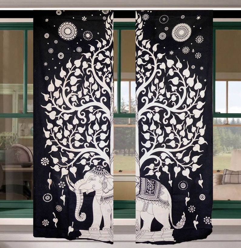 Phenomenal Black And White Tree Of Life Curtain Set Boho Indian Elephant Door Drapes Bathroom Curtain Window 2 Panel Curtain Set Interior Design Ideas Inamawefileorg