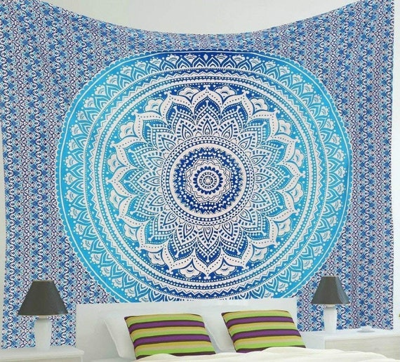Blue Tapestry Bohemian Wall Hanging Dorm Room Tapestry Wall Hanging Indian Tapestries Christmas Gift