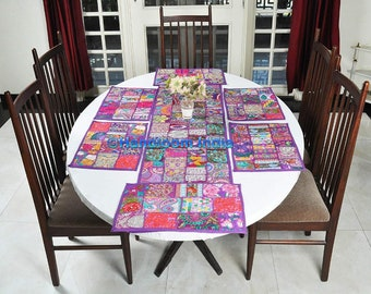 Vintage Patchwork Table Runner for 6 Seater Dining Table, Bohemian Embroidered Purple Placemats Set of 4 pc, Patchwork Tapestries Wall Decor
