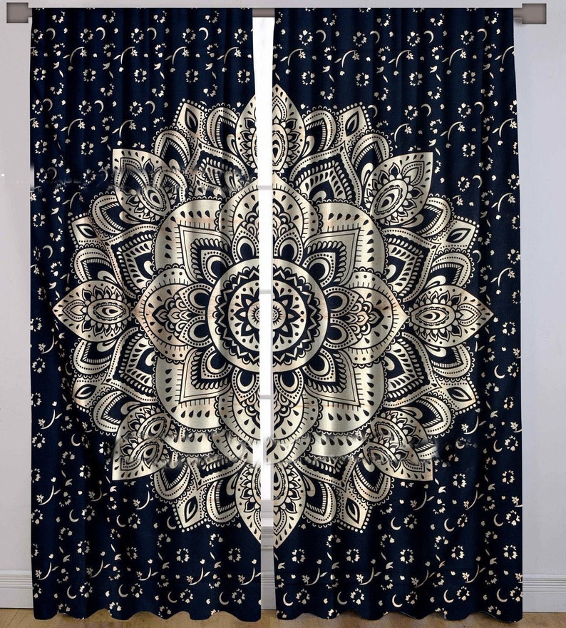 Brilliant Black Golden Floral Mandala Curtains Bohemian Door Drapes Mandala Window Hanging Handmade Mandala 2 Panel Curtain Set Interior Design Ideas Inamawefileorg