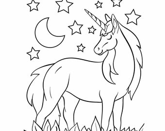 Amazing Unicorn Coloring Book for Kids - 10 Unique Coloring Pages - Instant Download