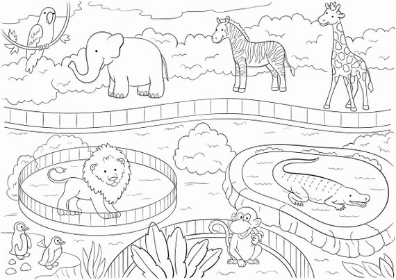 Zoo Animals Large Printable Coloring Poster For Kids Etsy