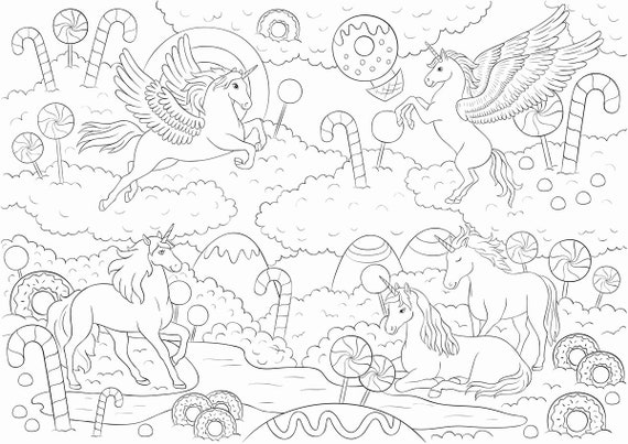 Printable Coloring Page Unicorn In Candy World 4 Parts Etsy