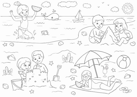 Printable Coloring Page Spacial Summer Price Summer At The Etsy