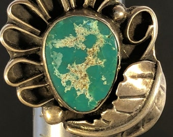 Native American Green Turquoise & Sterling Ring - 8-1/4