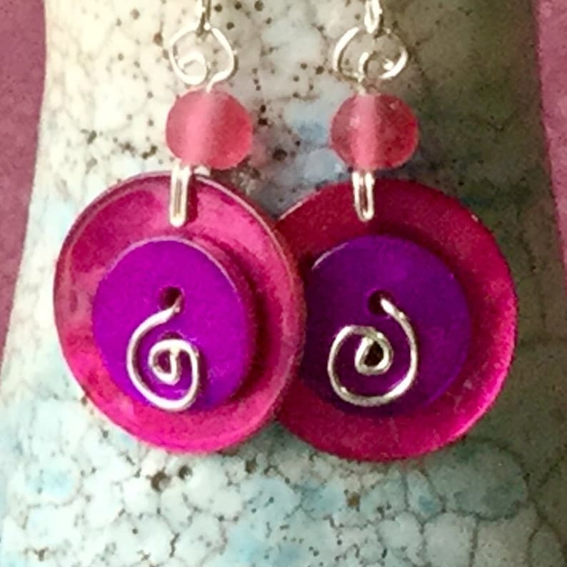 with Frosted Glass Beads and Sterling Silver Stems Shell Two Button Small Earrings in Hot Pink and Purple Button Jewellery From Cornwall