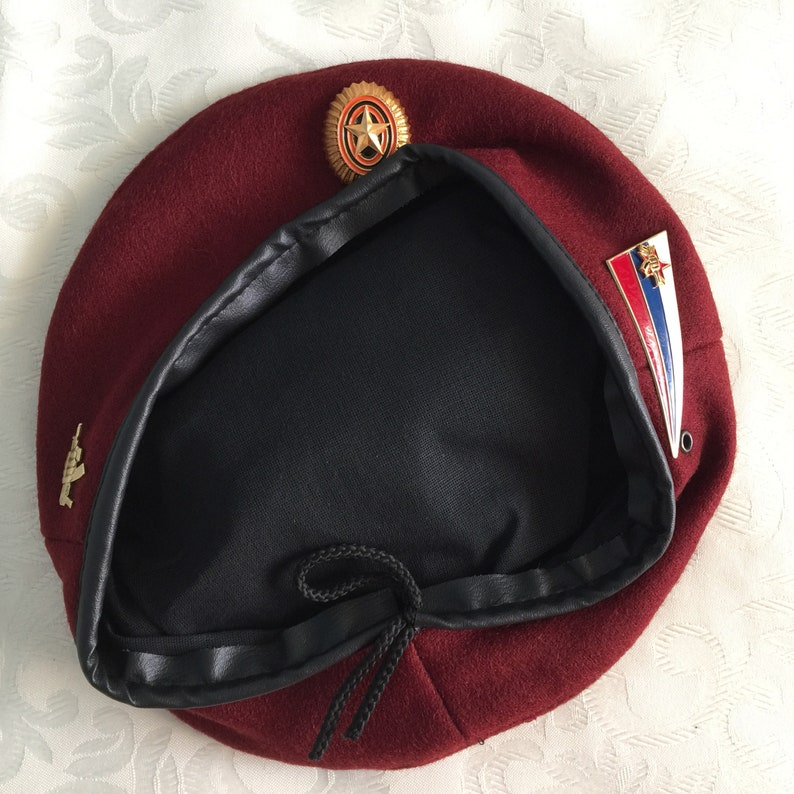 Russian Army Spetsnaz maroon beret with 3 badge  Size 58