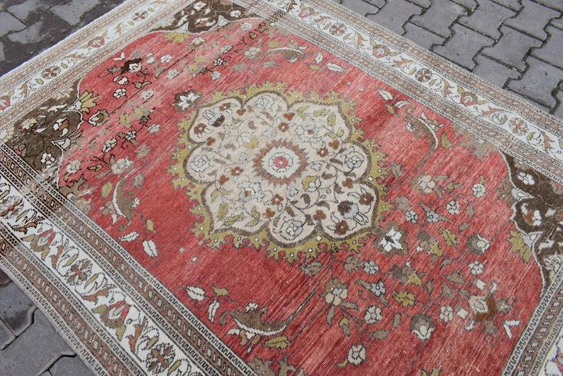 5X7 AREA RUG,4/'69\u00d76/'33 ft,Wool Rug,Pastel Soft Rug,Vintage Rug,Oushak Rug,Turkish Rug,Hand Made Rug,Boho Rug,Faded Red Rug,Anatolian Rug,
