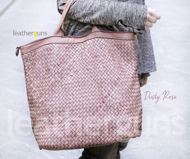Italian Woman Leather Bag Woven Leather Tote Woven Leather Bag Dark Brown Leather Bag Shopper LUCIA LEATHER Handbag Soft Leather Bag