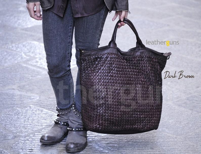 Leather Shoulder Bag Big Soft Leather Tote Shopper Bag LUCIA ITALIAN Leather Bag Italian Woman Burgundy Leather Bag Woven Leather Tote