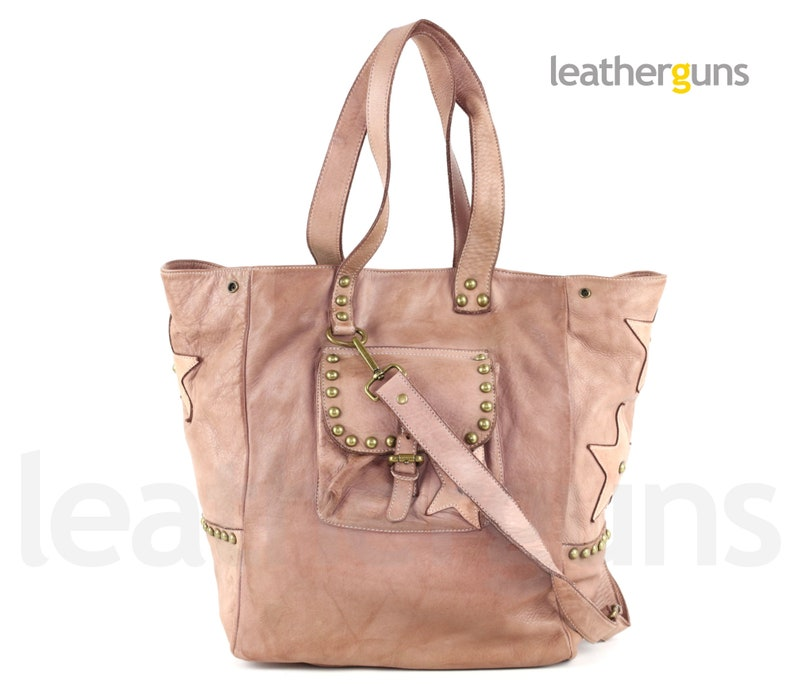 STELLA ITALIAN LEATHER Bag Soft Leather Tote Woman Pink Leather Shoulder Bag Big Woman Leather Bag Weekender Bag Leather Overnight Bag