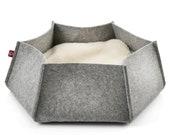 Felt Lounge AVA L grey Felt cat bed, cat nest, felt bed, cat basket, cat pillow, berth, pet bed