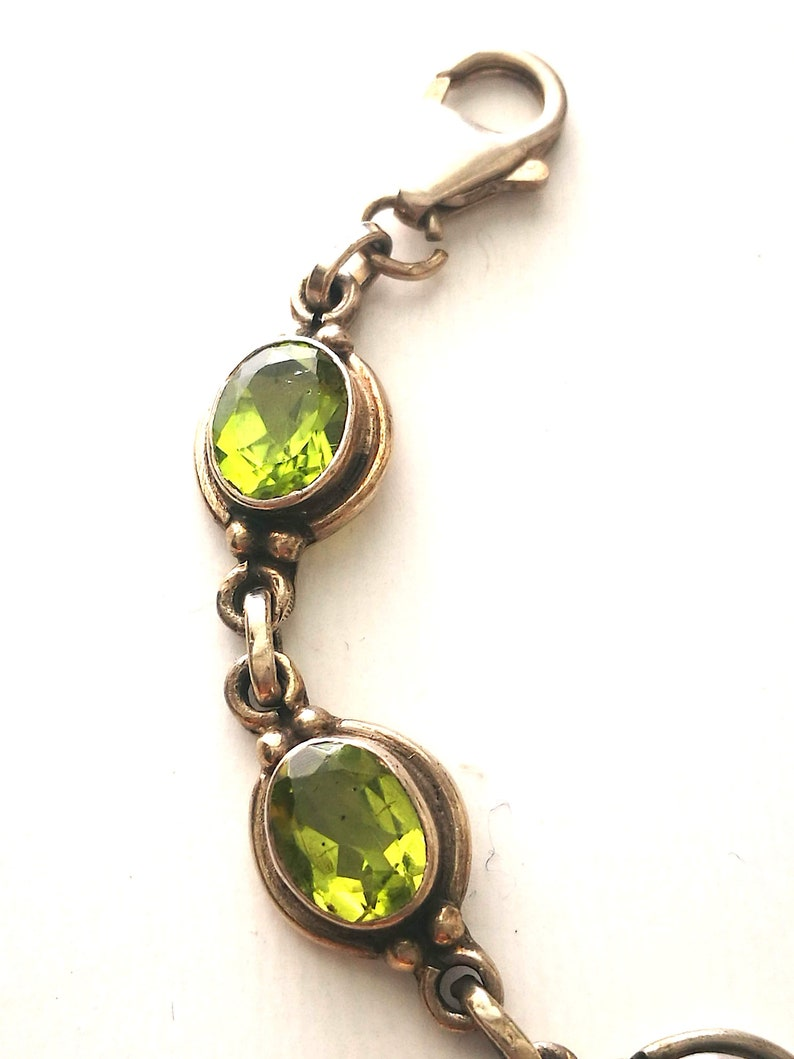 Gift for Her. Green Silver 925 Peridot Natural Gemstone Bracelet