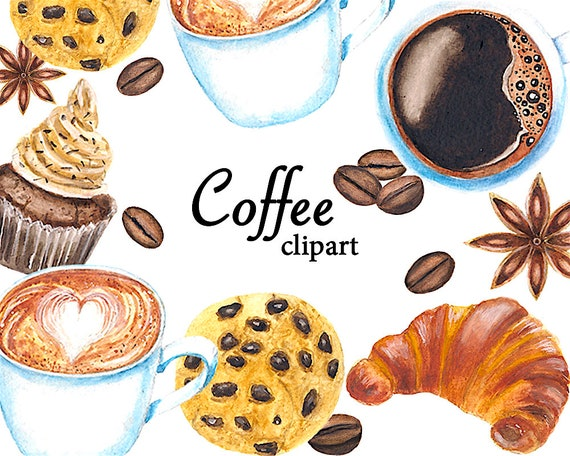 Kaffee Clipart Aquarell Cliparts Kuchen Clipart Keks Etsy