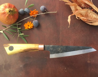 Hand crafted Honesuki chef's knife - Orange wood - Unique piece / Handmade Honesuki Kitchen Knife - Orange Wood - Unique